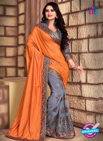 RT 13257  Grey  And Orange Net Fancy Party  Wear Saree