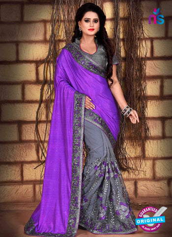 RT 13261  Grey  And Purple Net Fancy Party  Wear Saree