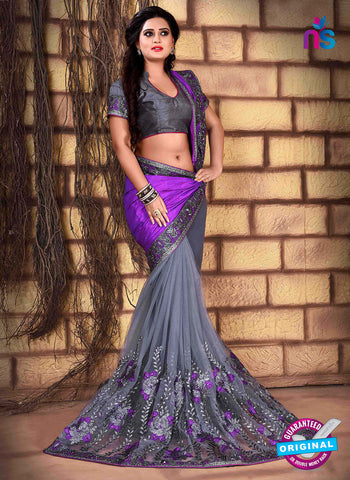 RT 13258  Grey  And Purple Net Fancy Party  Wear Saree