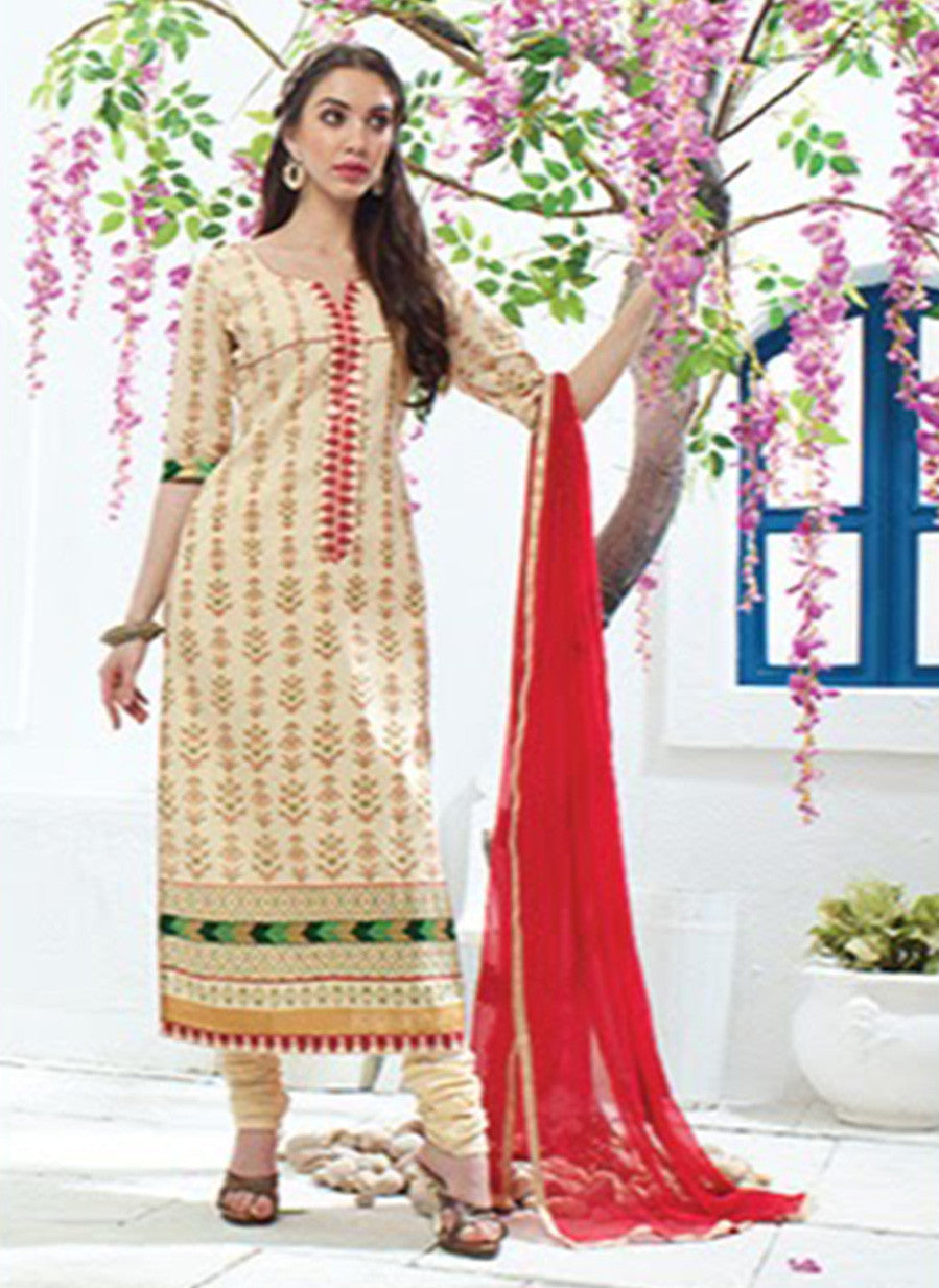 Jay Vijay 1351 Beige Color Cotton Satin Designer Suit