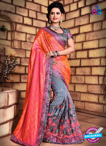 RT 13259  Grey  And Orange Net Fancy Party  Wear Saree
