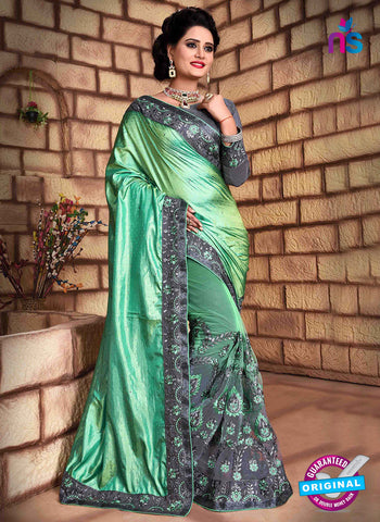 RT 13259  Grey  And  Green Net Fancy Party  Wear Saree