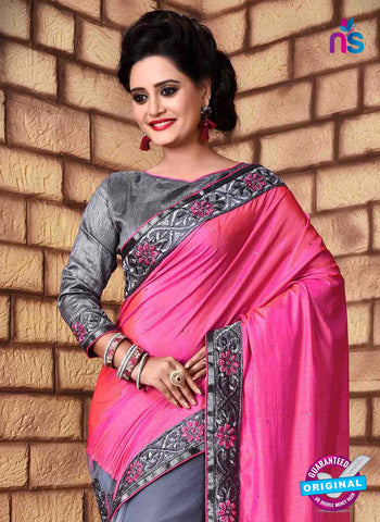 pink net party wear saree