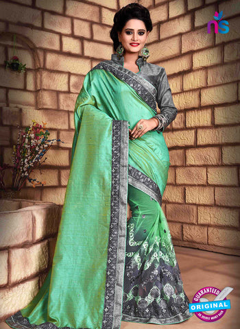 RT 13263  Grey  And  Green Net Fancy Party  Wear Saree