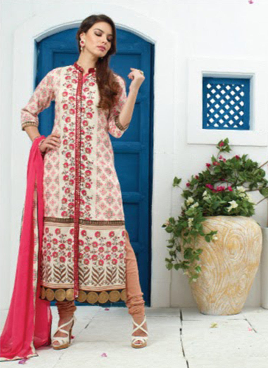 Jay Vijay 1352 Beige & Pink Color Cotton Satin Designer Suit