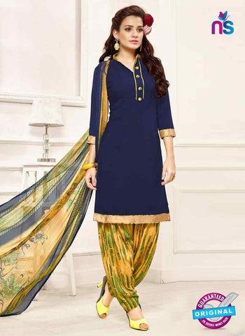 RT 13190 Navy Blue Crepe Designer Fancy Patiala Suit