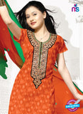 SC 13152 Orange and Green Cotton Jacquard Chudidar Suit