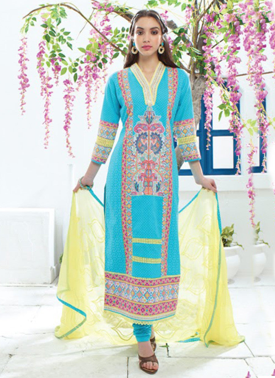 Jay Vijay 1353 Blue & Yellow Color Cotton Satin Designer Suit