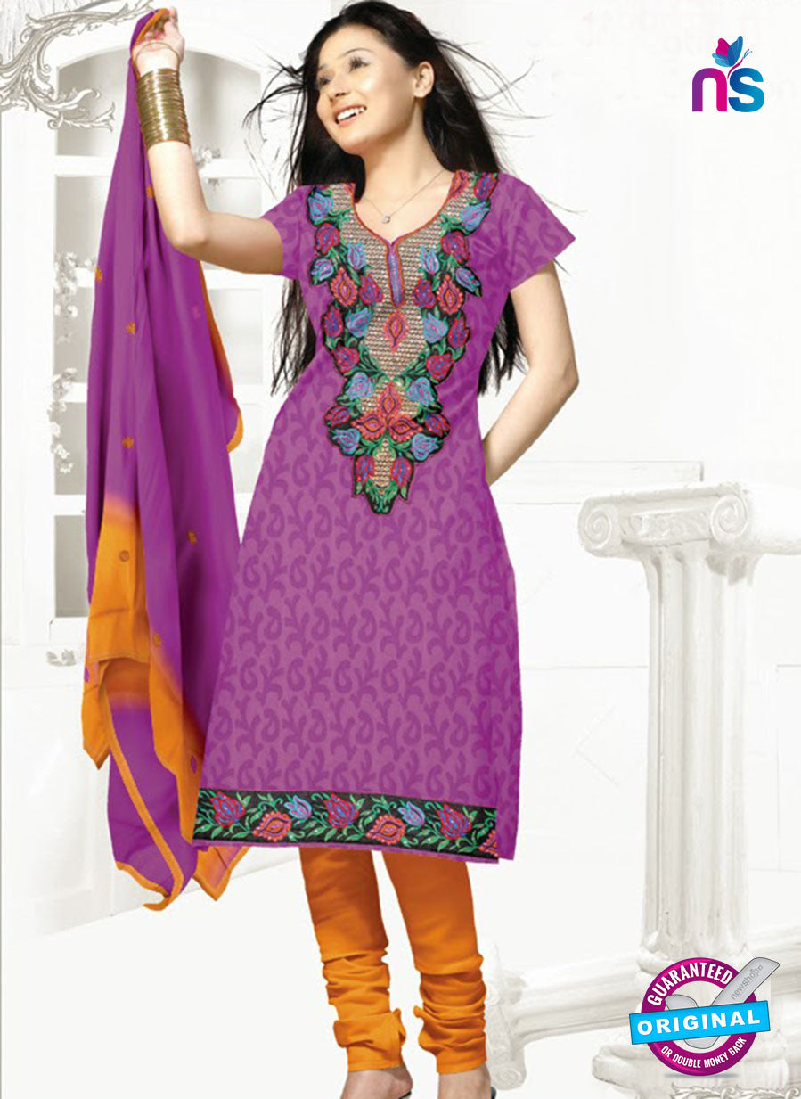 SC 13153 Purple and Yellow Cotton Jacquard Chudidar Suit