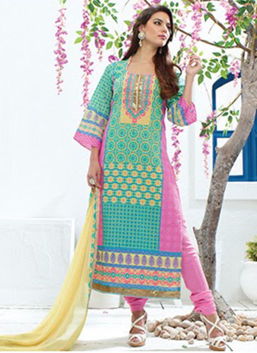 Jay Vijay 1354 Sea Green & Pink Color Cotton Satin Designer Suit