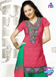SC 13154 Pink and Green Cotton Jacquard Chudidar Suit