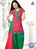 SC 13154 Red and Green Cotton Jacquard Chudidar Suit