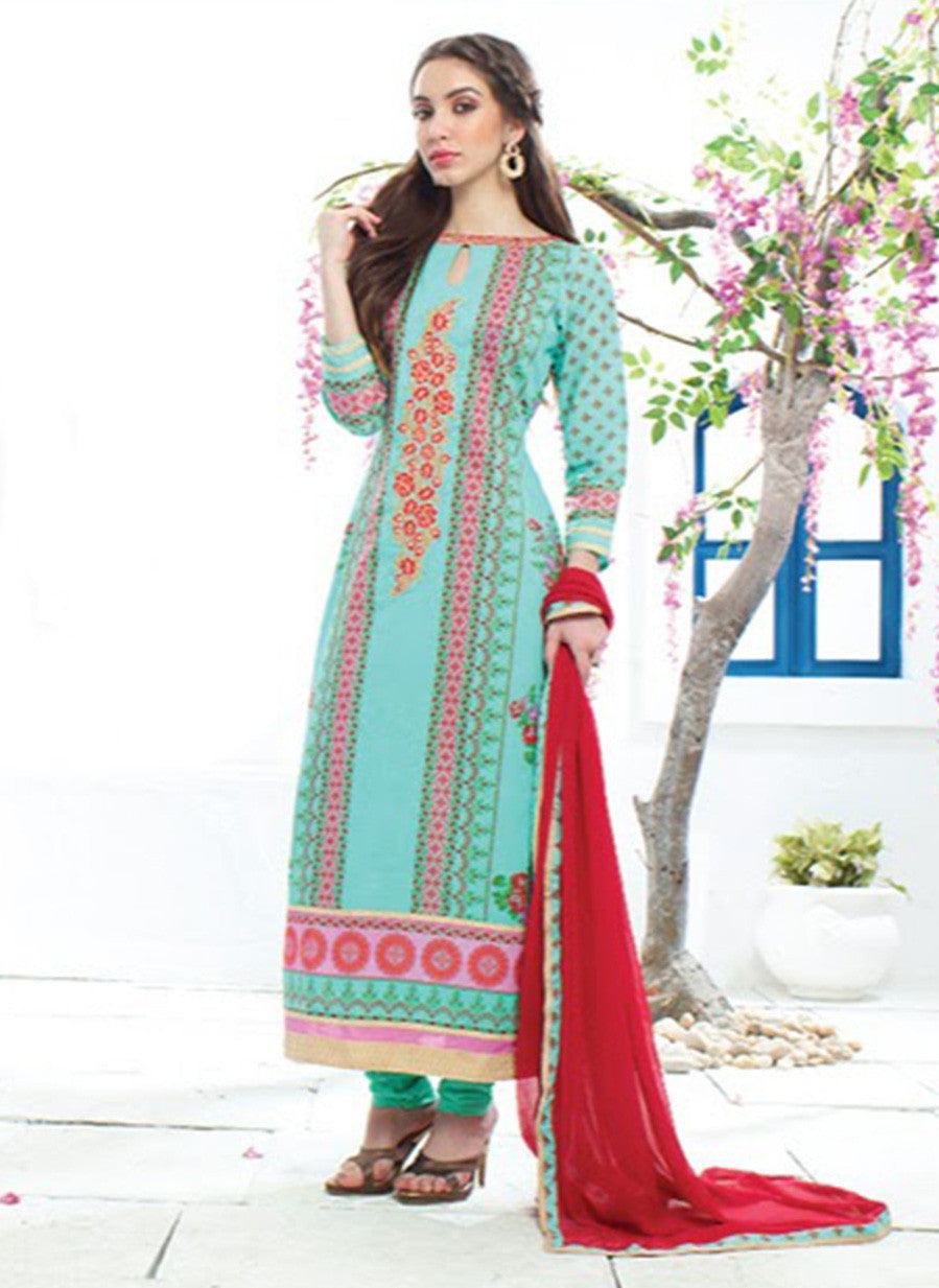 Jay Vijay 1356 Sea Green Color Cotton Satin Designer Suit