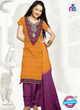 SC 13156 Yellow and Purple Cotton Jacquard Chudidar Suit