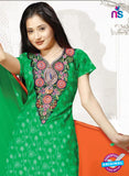 SC 13157 Green and Orange Cotton Jacuard Chudidar Suit