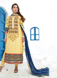 Jay Vijay 1357 Yellow Color Cotton Satin Designer Suit