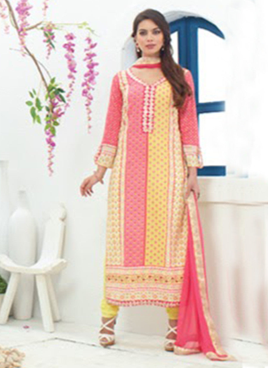 Jay Vijay 1362 Yellow & Pink Color Cotton Satin Designer Suit