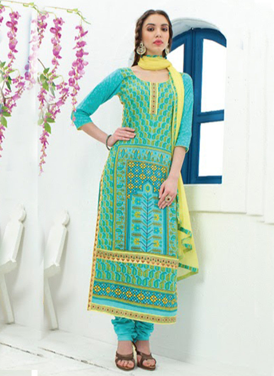 Jay Vijay 1363 Blue & Yellow Color Cotton Satin Designer Suit