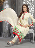 NS11815  Ivory and Red Multiwork faux Georgette Straight Suit Online