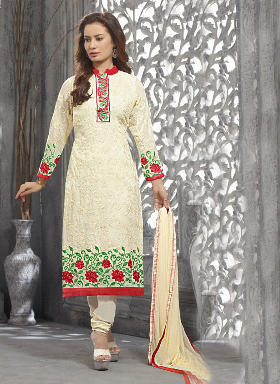 NS11815  Ivory and Red Multiwork faux Georgette Straight Suit