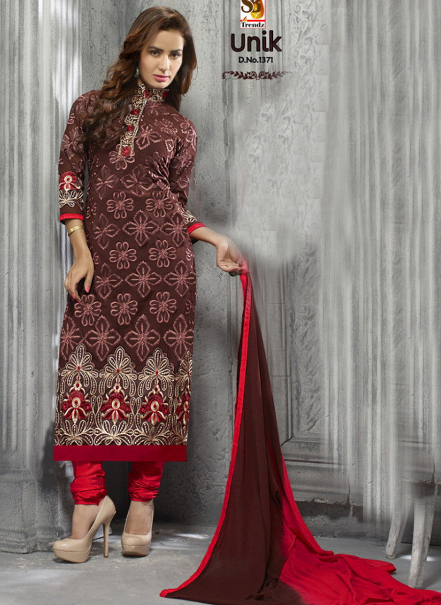 NS11815  Bulgarian Rose and Red Multiwork faux Georgette Straight Suit