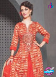 SC 13766 Orange Cambric Cotton Designer Exclusive Un-stitched Straight Plazo Suit