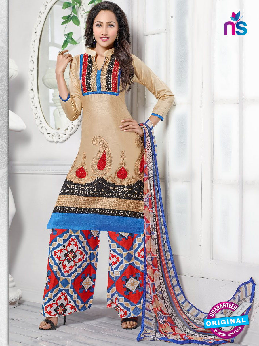 NS10252 Beige and Multicolor Casual Cotton Plazzo Suit