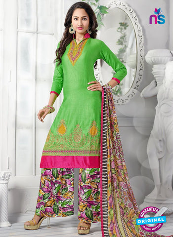 NS10253  Green and Multicolor Casual Cotton Plazzo Suit