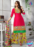 NS10254 Magenta and Multicolor Casual Cotton Plazzo Suit