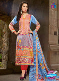 SC 13219 Red and Multicolor Printed Cambric Cotton Pakistani Suit