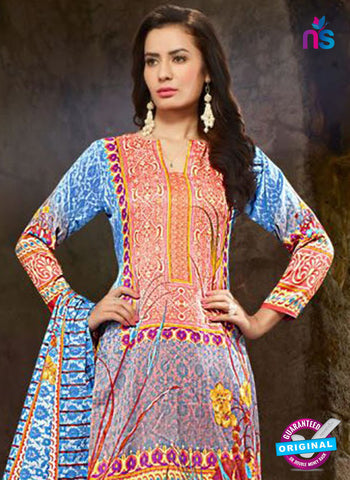 SC 13219 Red and Multicolor Printed Cambric Cotton Pakistani Suit Online