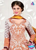 NS11057 Peach and Grey Satin Cotton Straight Designer Salwar Suit