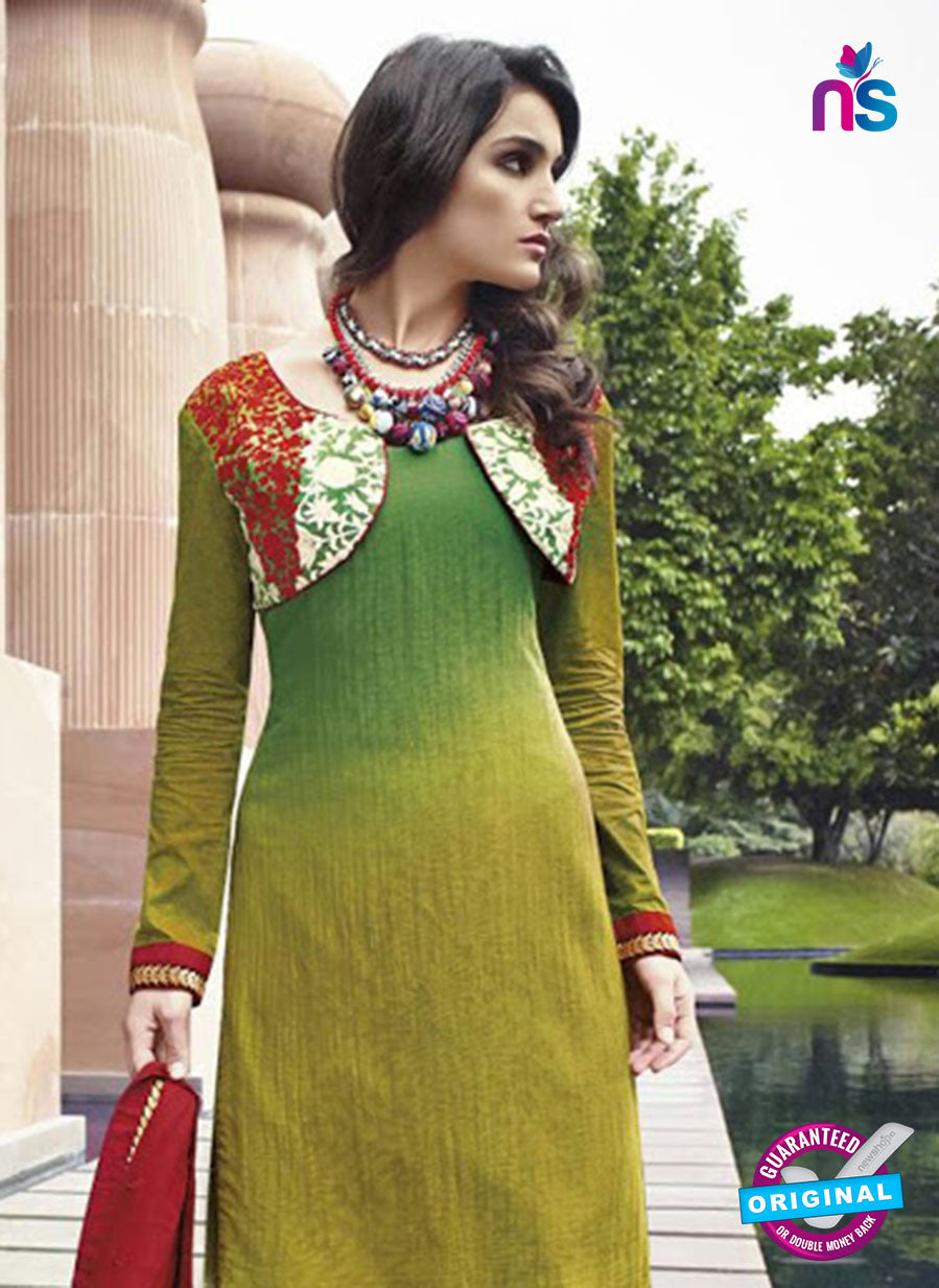NS 12297 Green and Red Cotton Satin Party Wear Plazzo Suit