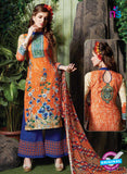 SC 13717 Orange and Blue Glace Cotton Designer Exclusive Fancy Un-stitched Straight Plazo Suit