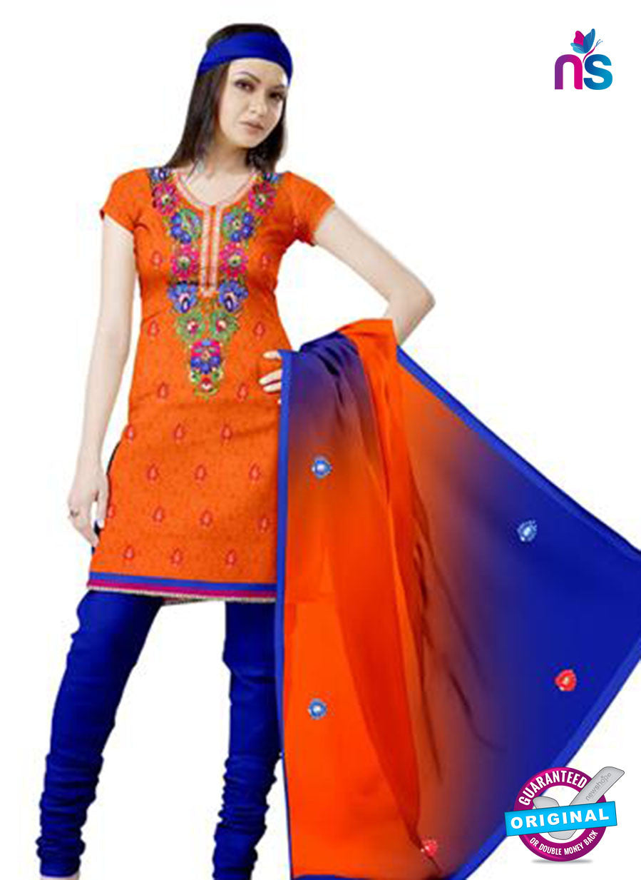 NS12253 Orange and Blue Georgette Jacquard Dress Material
