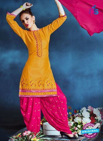 Meghali 13 Yellow Cotton Patiala Suit