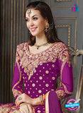 NS10011  Purple and Yellow Bhagalpuri Silk Party Wear Designer Suit