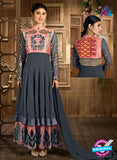 Buy Hamim 14002 Grey Faux Georgette Anarkali Suit Online