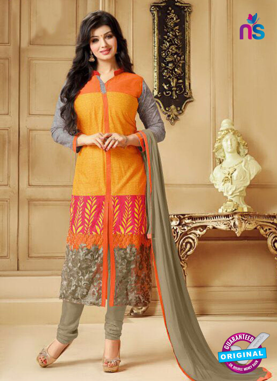SC 13304 Orange and Beige Cambric Lawn Straight Suit
