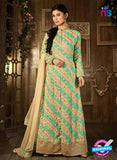 Buy Hamim 14005 Beige and Sea Green Faux Georgette Indo Western Suit Online
