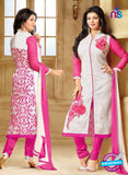 SC 13295 White and Pink Printed Cambric Lawn Straight Suit