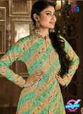 AZ 3685 Beige and Sea Green Faux Georgette Indo Western Suit