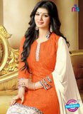 SC 13296 Orange Printed Cambric Lawn Straight Suit Online