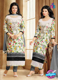 SC 13303 Multicolor and Grey Cambric Lawn Straight Suit