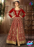 Arihant 14008 D Maroon Embroidered Faux Georgette Party Wear Suit
