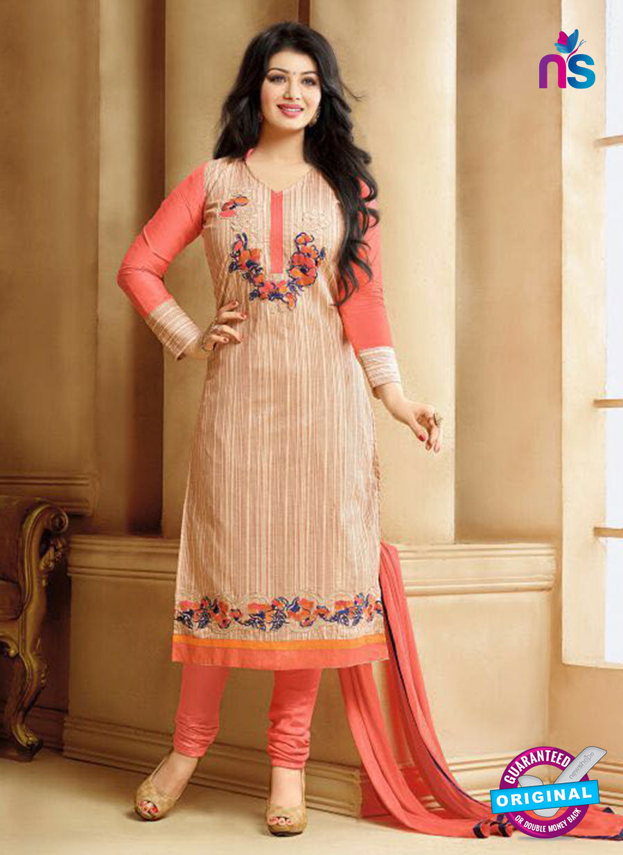 SC 13302 Beige and Peach Cambric Lawn Straight Suit