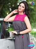 NS12068 Grey and Pink Georgette Kurti