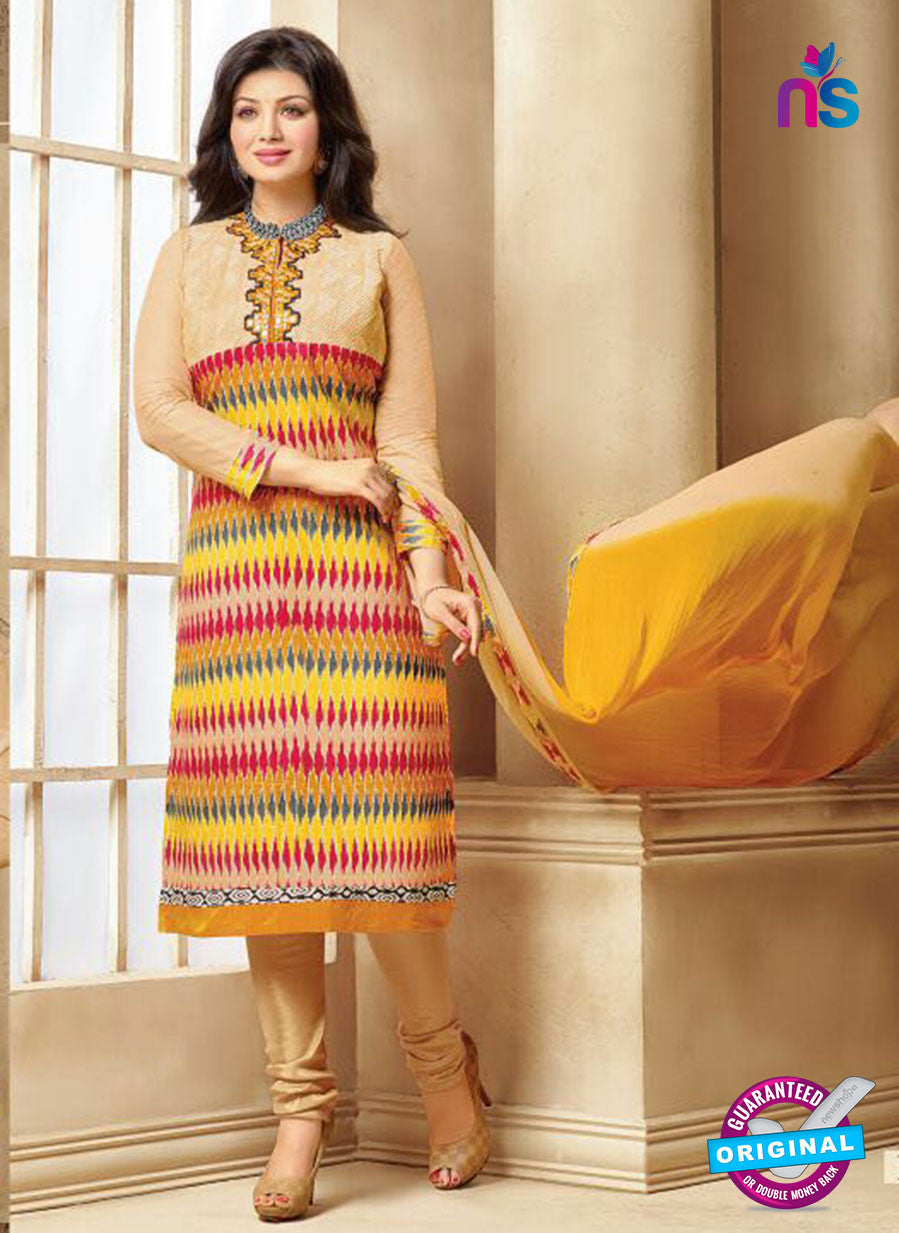 SC 13293 Beige and Multicolor Printed Cambric Lawn Straight Suit