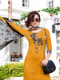 Teazle 1401 Yellow & Black Color Glace Cotton Designer Suit