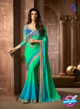 AZ 2041 Sea Green and Sky Blue Georgette Fancy Party Wear Saree